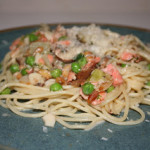 Pasta with Smoked Salmon in a Light Cream Sauce