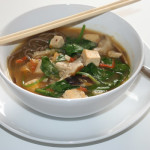 Spicy Miso Ginger Soup with Mushrooms & Spinach