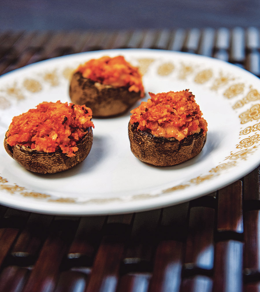 cheddar sriracha stuffed mushrooms: stuffed cookbook review & giveaway